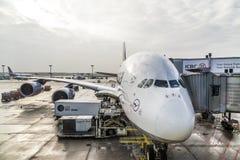 Lufthansa-Luchtbus A380 bij de Poort van de Luchthaven van Frankfurt Stock Foto's