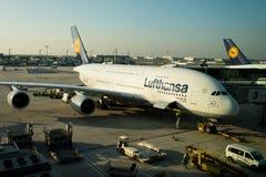 Lufthansa-luchtbustribunes in luchthaven, Frankfurt-am-Main, Duitsland royalty-vrije stock afbeeldingen