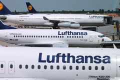 Lufthansa-luchtvaartlijn Stock Foto