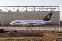 Lufthansa A380 at Lufthansa Technik Stock Images