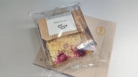 Lufthansa meals - cake Stock Photography