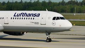 Lufthansa A321 plane taxiing in Frankfurt Airport, FRA stock video