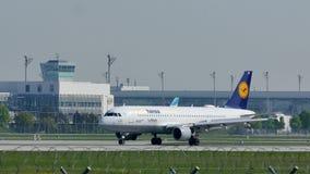 Lufthansa plane landing in Munich Airport MUC. Lufthansa jet land in Munich Airport, MUC, spring stock video