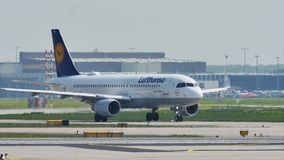 Lufthansa plane on runway in Frankfurt Airport, FRA. Lufthansa taxiing in Frankfurt Airport, FRA, Germany stock video footage