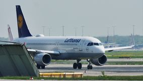 Lufthansa plane on runway in Frankfurt Airport, FRA. Lufthansa taxiing in Frankfurt Airport, FRA, Germany stock footage