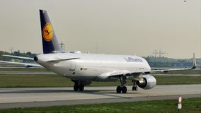 Lufthansa plane taxiing in Frankfurt Airport, FRA. Lufthansa plane landed on runway in Frankfurt Airport, FRA, Germany stock video footage