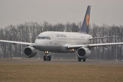 Lufthansa plane. This is a view of Lufthansa plane Airbus A319-114 registered as D-AILS. February 19, 2015. Lublin Airport in Swidnik, Poland Stock Photography