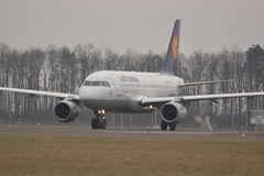 Lufthansa plane. This is a view of Lufthansa plane Airbus A319-114 registered as D-AILS. February 19, 2015. Lublin Airport in Swidnik, Poland Stock Photos