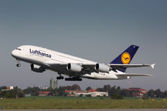 A380 Lufthansa. PRAGUE - OCTOBER 02: Lufthansa Airbus A380 airliner takes off on October 02, 2011 in Prague, Czech Republic. The A380 is currently the largest Stock Photo