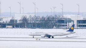 Lufthansa Regional plane gets ready to takeoff at Munich Airport, Germany. Lufthansa Regional is a brand name for regional and feeder flights performed by two stock video