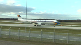 Lufthansa Retro Airbus taxiing on runway stock footage