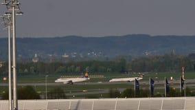 Lufthansa ställer upp i den Munich flygplatsen, MUC