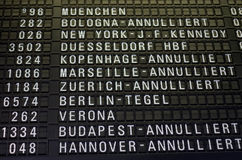 Lufthansa strike. Frankfurt am Main, Hessen, Germany - November 29, 2016: Flight information board displaying cancelled Lufthansa flights due to strike by pilots Royalty Free Stock Photos