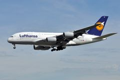 Lufthansa Super Jumbo. A Lufthansa's Airbus A380, seen here about to land in Frankfurt airport, Germany Royalty Free Stock Image
