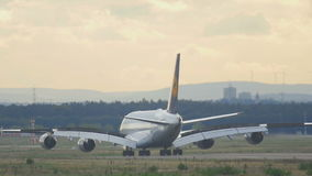 Lufthansa Superjumbo landing stock video footage