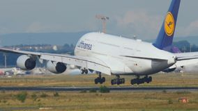 Lufthansa Superjumbo landing stock footage
