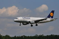 Lufthansa-vlucht Royalty-vrije Stock Foto's
