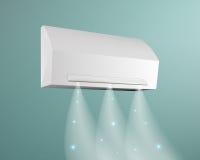 Luftkonditioneringsapparat på bakgrunden av den blåa väggvektorillustrationen Blåser kall luft med snöflingor royaltyfri illustrationer