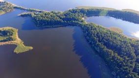 Luftlandschaft von schönem Forest On Islands On Lake Seliger, Russland stock footage