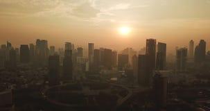 Luftlandschaft von Semanggi CBD auf Sonnenaufgang stock video