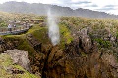 Luftloch an den Pfannkuchen-Felsen, Neuseeland Stockfotografie