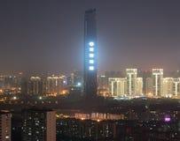 Luftnachtansicht von Hankou-Bezirk von Wuhan-Stadt in China mit lizenzfreies stockfoto