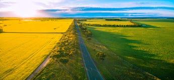Luftpanorama der Landstraße überschreiten durch Ackerland in der australischen Landschaft bei Sonnenuntergang Lizenzfreies Stockfoto
