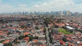 Luftpanorama der Stadtrände der Stadt von Jakarta indonesien stock footage