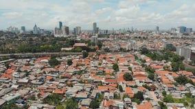 Luftpanorama der Stadtrände der Stadt von Jakarta indonesien stock video footage