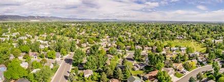 Luftpanorama von Fort Collins Lizenzfreie Stockbilder