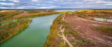 Luftpanorama von Murray River in Kingston auf Murray Lizenzfreie Stockfotos
