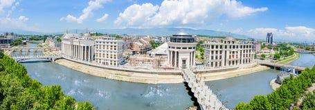 Luftpanorama von Skopje lizenzfreies stockbild