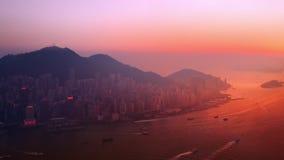 Luftpanoramaansicht von Hong Kong Island bei Sonnenuntergang stock video