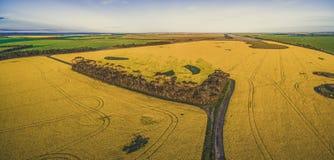Luftpanoramablick der Landstraße überschreiten durch Ackerland in der australischen Landschaft Lizenzfreies Stockbild