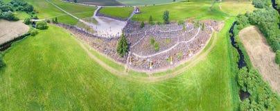 Luftpanoramablick des Hügels der Kreuze, Litauen Stockbild