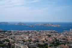 Luftpanoramablick von Marseille-Stadt Stockbild