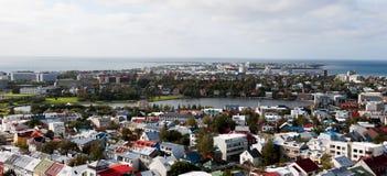 Luftpanoramablick von Reykjavik island Lizenzfreie Stockfotos
