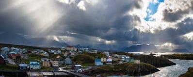Luftpanoramablick von Stykkisholmur island Stockbilder
