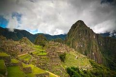 Luftpanoramablick zu zu archäologischem Standort Machu Picchu und Berg Huayna Picchu, Cuzco, Peru Lizenzfreies Stockbild