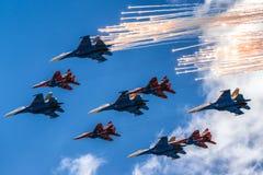 Luftparade über Moskau Lizenzfreies Stockfoto