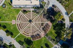 Luftplan des schönen Rosengartens von Cal Poly Pomona stockfotografie