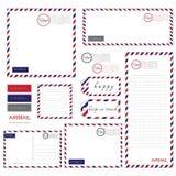Luftpost-Briefpapiersatz Lizenzfreies Stockfoto