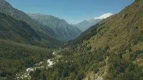 Luftschießen von der Fliegenbrummengebirgswaldhoher Gebirgsdraufsicht stockbilder