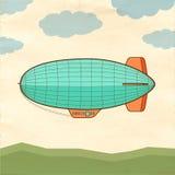 Luftschiff auf altem Papierhintergrund Stockfotos