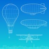 Luftschiff-, Flugzeug- und Luftballon Stockbild