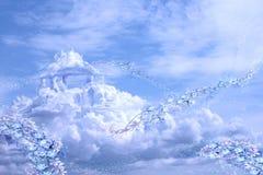 Luftschlösser in den Girlanden der Blumen stockbilder