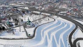 Luftschuß der Hauptansicht zu Barnaul-Stadt stock video footage