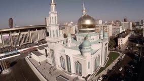 Luftschuß der Moskau-Kathedralen-Moschee Neuer Religionsbau stock video footage