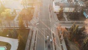 Luftschuß der Stutenstraße Stefan cel bei Sonnenaufgang stock video footage