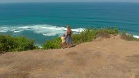 Luftschuß einer jungen Frau und ihres Sohns, die einen Fernstrand - nyang nyang- auf der Bali-Insel besuchen Stellung auf einem F stock video